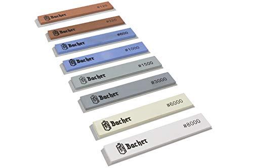 BACHER Pietra per affilatura di coltelli con corindone - 8 set di pietre # 120 - # 8000 - per sistemi di affilatura ad angolo fisso, Ruixin e KKmoon