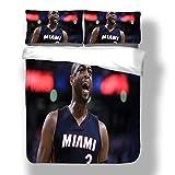 Zozun Juego de Funda nórdica Dywane Miami Basketball Player 3 Ropa de Cama Flash Wade Heat Super Star Rebound Schedule Edredón con 2 Fundas de Almohada Cleveland Chicago Cavaliers Bulls
