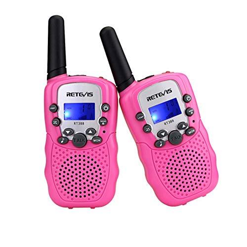 AMZSELLER Walkie Talkie Walkie Talkie Niños 2 PCS Radio para niños Walkie-Talkie Kids Cumpleaños Juguetes de Regalo para niños Niñas 100-800m Rango (Color : PMR Pink)