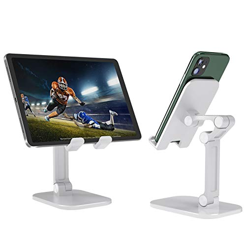 White Adjustable Desktop Phone Holder,Fully Foldable Phone Stander Compatible with Ipad and All Smartphone (White)