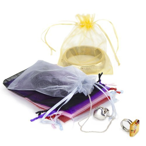 """50 Pack of 4"""" x 6"""" Yellow Drawstring Organza Storage Bags - Party Favor Pouch for Weddings, Showers, Birthdays & Holidays, Great for Gifts, Candy, Collectibles, & Jewelry by Brybelly"""