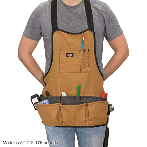 Dickies 16-Pocket Workshop Bib Apron, Durable Canvas Construction, Reinforced Edges, Adjustable Belt, Grey/Tan