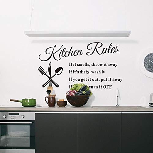 Decoración del hogar Pegatinas de pared extraíbles Reglas de cocina Calcomanía Accesorios para el hogar Hermoso diseño de patrón Decoración decoración del hogar A9 33x60cm