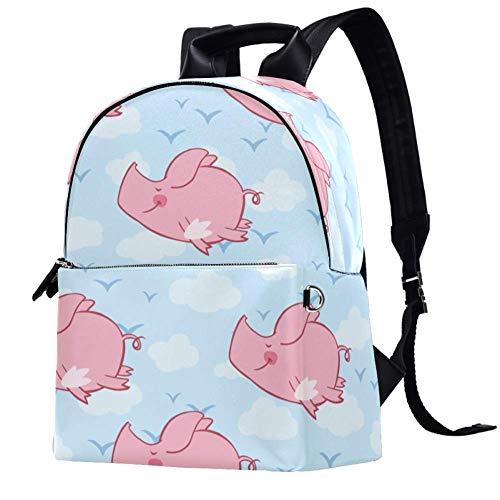 Mochila de cuero rosa con alas de cerdo volador azul cielo colegio, bolsa de viaje, oficina, portátil, para mujeres y hombres