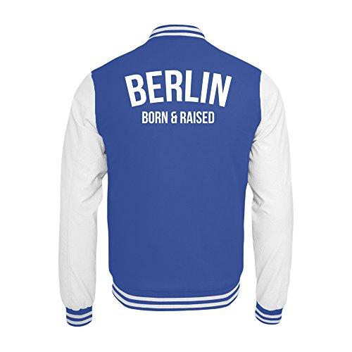 PlimPlom Berlin College Jacke In Hellblau/Weiß Hauptstadt Born & Raised (XL)