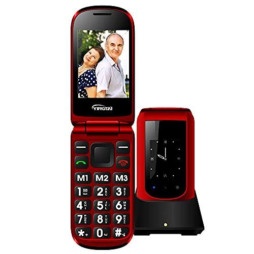Teléfono Móvil para Personas Mayores Teclas Grandes con Tapa para Ancianos con SOS Botones, Pantalla de 2,4+1.77 Pulgadas Base Cargadora Rojo