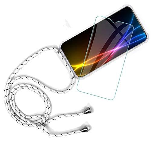 """WenJie Funda + Protector de Pantalla para Xiaomi Redmi GO (5"""") Estuche Protector de TPU Ultrafino, Transparente y Suave con Collar y cordón Ajustable para teléfono Inteligente, Blanco + Gris"""