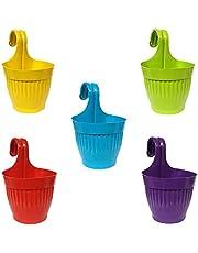 Go Hooked Double Hook Flower Pots, Multicolor Garden Planters Railing Pots