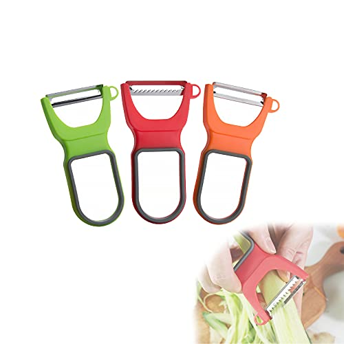 Peelers Set Set of 3, Stainless Steel Multifunction Vegetable Potato Peelers Kitchen Aid, for Potato Apples Carrots Cucumber and Various Vegetables and Fruits (B)