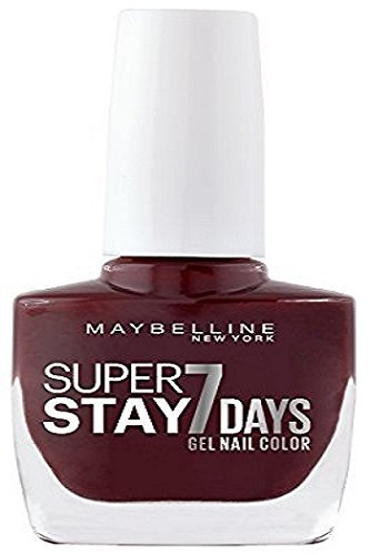 Maybelline New York Make-Up Superstay Nailpolish Forever Strong 7 dagen Finish Gel Nagellak/kleurlak met ultra sterke grip zonder UV-lamp in verzadigd donkerblauw, 1 x 10 ml 10 ml Midnight Red