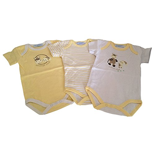 KLITZEKLEIN Klitzeklein Bodys (Packung, 3 Stück), für Babys gelb Aus reiner Baumwolle (62/68)