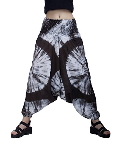 Indi Bargain Cotton Tie Dye Printed Alibaba Cotton Afghani Low Crotch Trouser Convertible Jumpsuit (Stretchable - Medium to XL Fit) (Brown 2018)