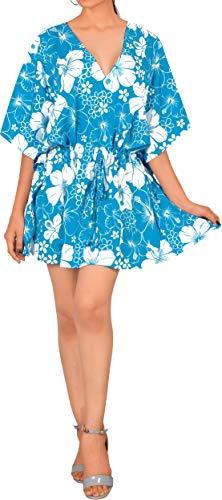 LA LEELA Bade Swimwear Frauen Tunika Kaftan Poncho Coverup Bademoden blau