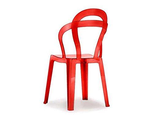 Scab - Titi' Sedia in plastica policarbonato, Colore: Trasparente Rosso