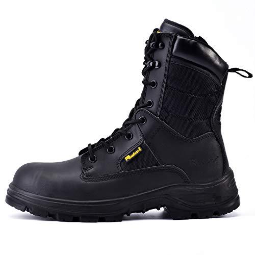 Zapatos de Seguridad Hombres y Mujeres, S3 Botas de Seguridad Trabajo Militar con Cuero Impermeable, Puntera con Punta de Acerol Ligeros Calzado para Cremallera, Plantilla mas Comodas,EU 42