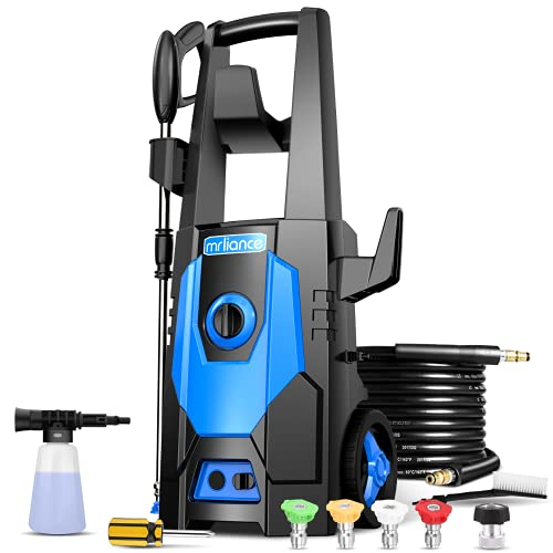 mrliance 3600PSI Electric Pressure Washer, 2.4GPM Electric Power Washer High Pressure Washer with Spray Gun, Brush, and 4 Quick-Connect Spray Tips (Blue)