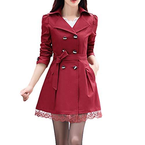 TWGONE Fall Button Up Jacket Women Fashion Slim Winter Warm Long Sleeve Coat With Belt(US-10/CN-3XL,Wine Red)