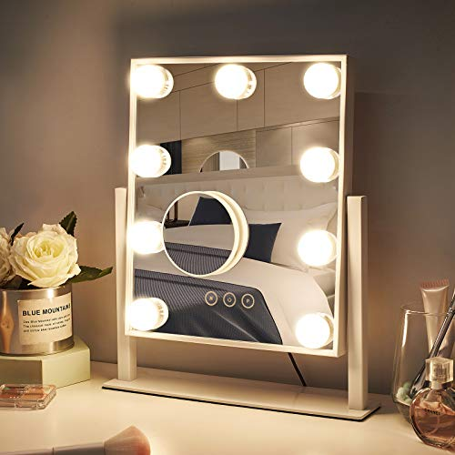 NUSVAN Vanity Mirror with Light, Light Up Makeup Mirror with 9 Dimmable LED Bulbs, Large Lighted Makeup Mirror with Detachable 10x Magnification, White (25x30cm)