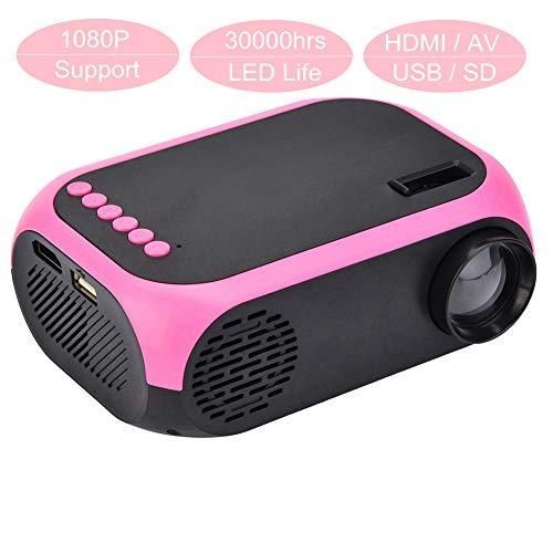 Tosuny HD-Projektor (Full HD 1920x1080p 600 Lumen) LED Videobeamer mit 24-60 Zoll Projektionsgröße 30000 Stunden Heimkino Beamer(rot)
