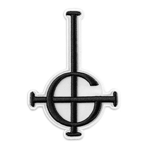 Ghost BC Grucific Symbol 3D Puff Embroidered Patch/Heavy Metal Doom Hard Rock Band (3.5' x 5', White fabric)