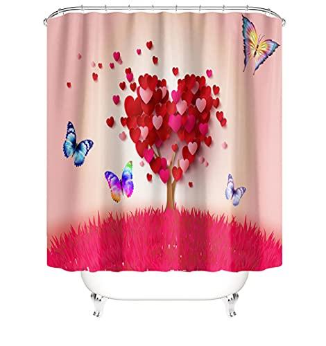Impermeable Cortina de Ducha 3D Impresión Digital Shower Curtain con 12 Ganchos de plástico en Forma de C Poliéster Tela Lavable Cortina Ducha 94 x 80 Inch(240 x 200 Cm) Mariposa A4548