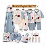 shiftX4 Set de regalo para bebé – 20 piezas, suave 100% algodón, babero, sombrero, tops de manga larga, pañuelo, guantes, cubierta de pie, pelele – 0-3 meses