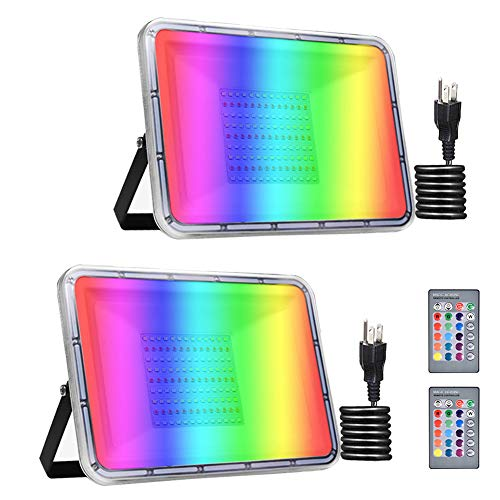 Bikuer 2 Pack 100W RGB LED Flood Lights with Remote Control, IP67 Waterproof Dimmable Color Changing Floodlight, Wall Washer Light, Outdoor Indoor Decorative Landscape Garden Light (100W with Plug)