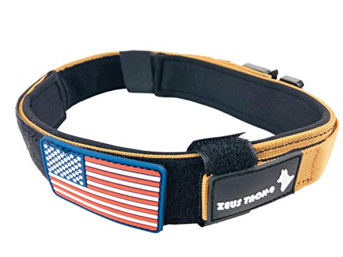 ZeusTacK9 Tactical Dog Collar K9 Pet Dogs - 1.5 Inch Wide Heavy Duty Military Style Dog Collars Metal Buckle Quick Release USA Flag Patch - Control Handle for Handling Training (MED, TAN)