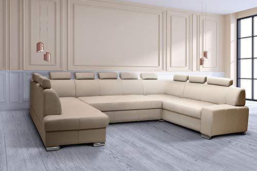 Quattro Meble Super grote echt lederen hoekbank U-vorm Londen I U 10z 170x352x225 sofa bank met slaapfunctie, bedkast en hoofdsteunen echt leer Toledo hoek bank lederen sofa grote keuze aan kleuren