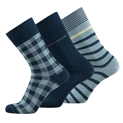 TOM TAILOR Herren Socken 3er Pack Streifen, checks & uni basic schwarz, Size:43-46, Farben:petrol blue