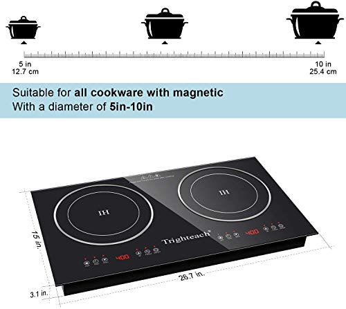 Product Image 7: Trighteach Portable Induction Cooktop(Double Countertop Burner) 2200W Electric Stove with Digital Touch Sensor and Kids Safety Lock, 9 Power Levels Induction Cooker Suitable for Magnetic Cookware