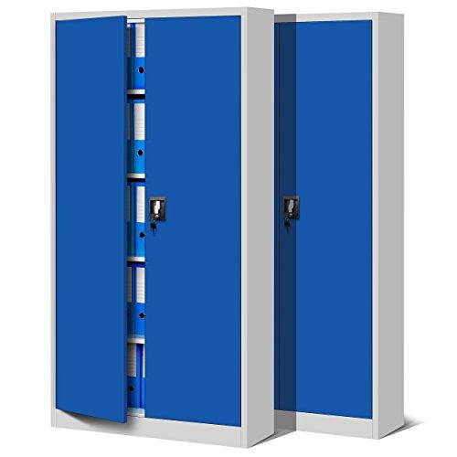 Jan Nowak 2er Set Aktenschrank C001 Metallschrank Stahlschrank Werkzeugschrank Büroschrank Lagerschrank Universalschrank Pulverbeschichtung Flügeltüren 185 cm x 90 cm x 40 cm (grau/blau)