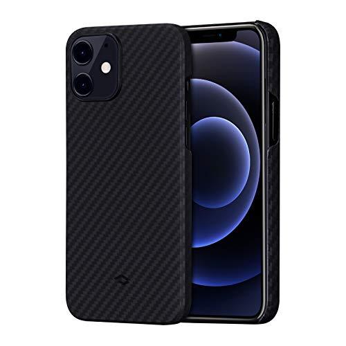 「PITAKA」iPhone 12 対応 ケース MagEZ Case アラミド繊維製 カーボン風 デザイン 極薄(0.85mm) 軽量(15g) 耐衝撃 保護 カバー ワイヤレス充電対応 ミニマリスト シンプル 6.1インチ(黒/グレーツイル柄)