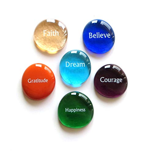 Lifeforce Glass Focus Stones, 6 Inspiring, Encouraging and Motivating Single Words Imprinted on Glass Stones, Inc. Set I.