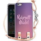 DeinDesign Carry Case kompatibel mit Apple iPhone 6 Plus Hülle mit Kordel aus Leder Handykette zum Umhängen Puder Silber Bergwerk Ruhrpott Dortmunder Mädchen