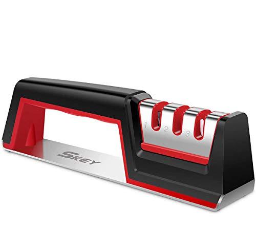 Messerschaerfer mit Handschuhen, SKEY Messerschleifer Messerschärfer Profi Manuelle messerschärfer mit 3 Stufen Messer schärfer Enorm Effektiv für Edelstahl und Keramikmesser Aller Größen