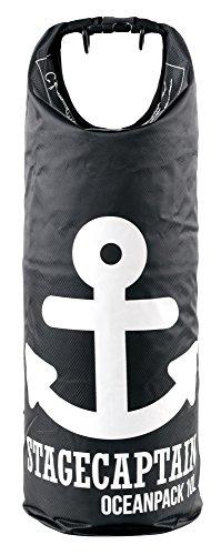 Stagecaptain OP-100 Dry Bag 10 Liter - Wasserdichte Tasche mit Rucksack-Gurten - Outdoor Seesack für Segeln, Kajak, Kanu, Schwimmen, Strand, Camping - Trockensack zum Wandern - 190T Polyester Schwarz