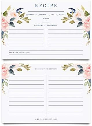 Bliss Collections Floral Recipe Cards 4x6 Double Sided Navy Blue Floral and Blush Pink Flower product image