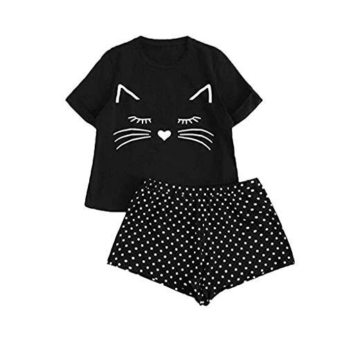 Conjunto de pijama corto para mujer, diseño de dibujos animados, camiseta y pantalones cortos, dos piezas, ropa de dormir para verano, ropa de noche, cuello redondo, manga corta, camisón impreso