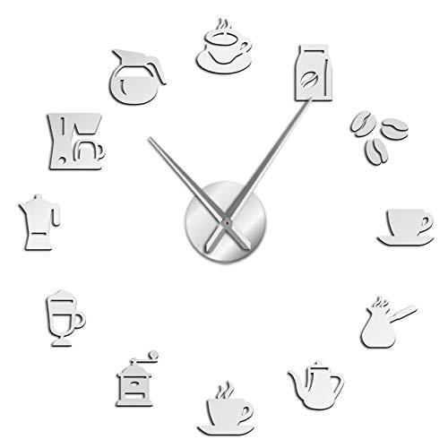Wanduhr Café Basteln große Wanduhr ohne Rahmen Riesenwanduhr modernes Design Kaffeetasse Kaffeebohnen Dekoration Küche Wanduhr Silber präzise und leise