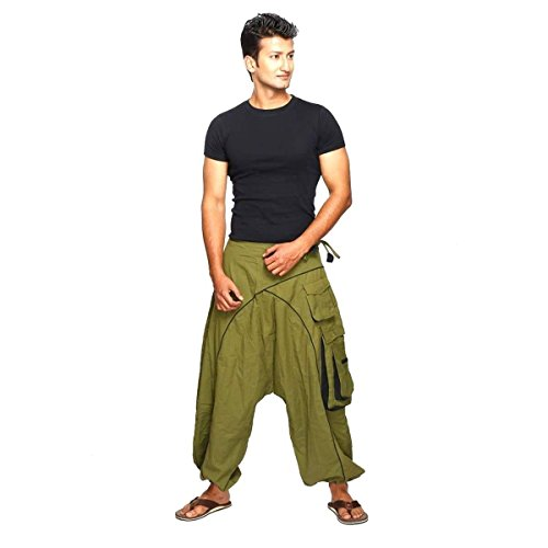 Simandra Haremshose Pumphose Aladinhose Pluderhose Yoga Goa Sarouel Baggy Aladin Freizeithose Shanti Herren (Grün, L/XL)