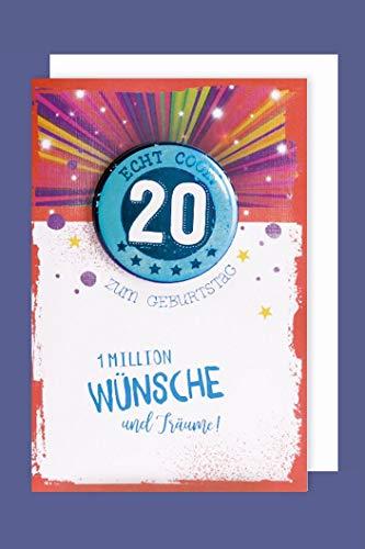 Button 20 Jahre Geburtstag Karte Grußkarte Humor Träume 16x11cm