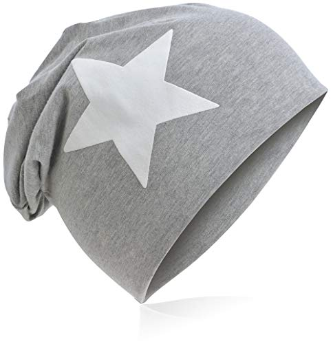 Berretto lungo in jersey, da bambino, unisex, con cotone, motivo con stella Grande stella grigia. 48-53 cm Circonferenza Della Testa