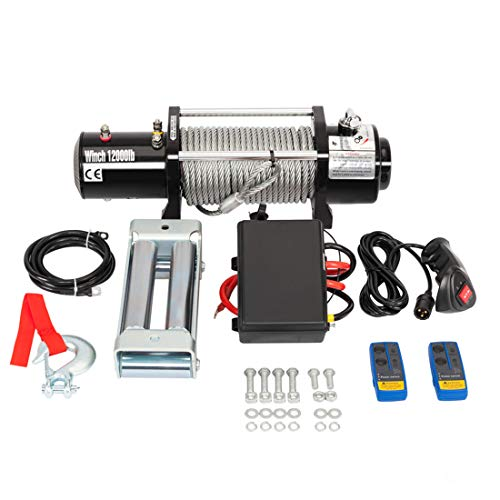 Roadstar Classic Electric Recovery Winch 12000lbs 12V for Truck SUV Car with 2 Durable Wireless Remote Control Kit