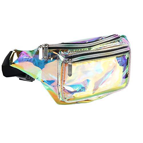 Riñonera holográfica para mujeres y hombres – Riñonera con cinturón ajustable para viajar, rave, festival, fiesta, dorado/transparente (Dorado) - FPC006