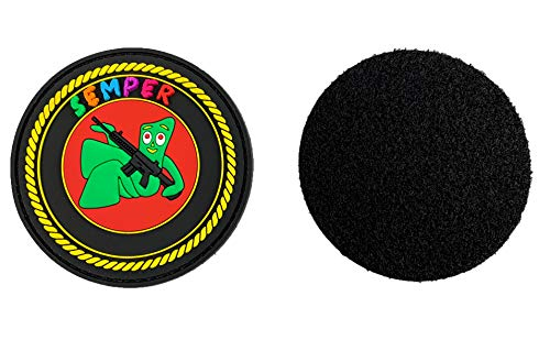 TUFF Semper Gumby PVC Patch 3' Crayon Semper with Additional Die Cut Velcro Loop to Sew to Gear.