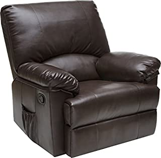 Relaxzen Rocker Recliner with Heat and Massage, Brown Marbled Leather