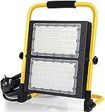 100W Projecteur LED Chantier IP65 étanche Spot LED Extérieur 6000K 10000lm Projecteur de Chantier à LED, lumières de sécurité, Lumières d'inondation