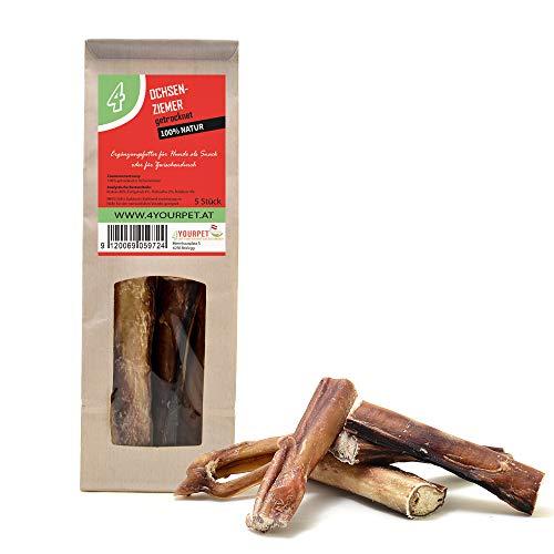 4yourpet Ochsenziemer getrocknet, 5 Stück, ca. 12cm in Papierverpackung, 100% natürlich von frischen Schlachterzeugnis. Premiumqualität, Kausnack für Hunde