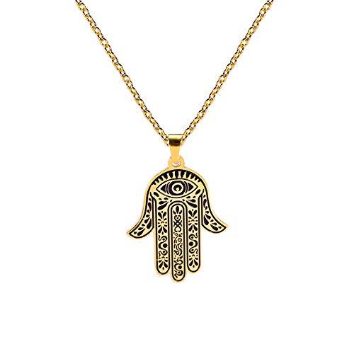 LUSSO Colgante de mano de Fátima Hamsa de ojo egipcio de acero inoxidable con colgante de éxito y protección para mujeres y hombres dorado